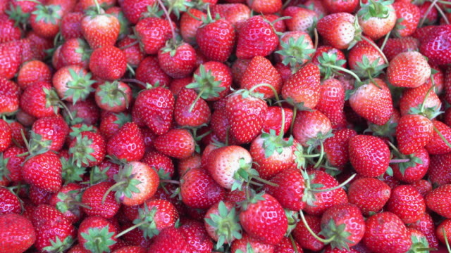 fresh ripe strawberries - inquadratura dall'alto di un tavolo video stock e b–roll