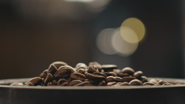 vídeos de stock e filmes b-roll de fresh roasted coffee beans in liqueur company - dolly shot