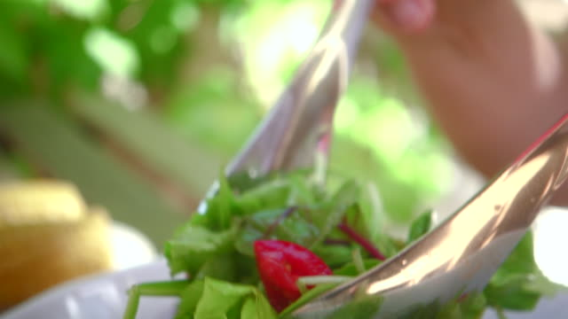 fresh salad with tomatos. - salad dressing stock videos & royalty-free footage