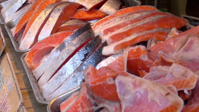fresh salmon sale - japan stock videos & royalty-free footage