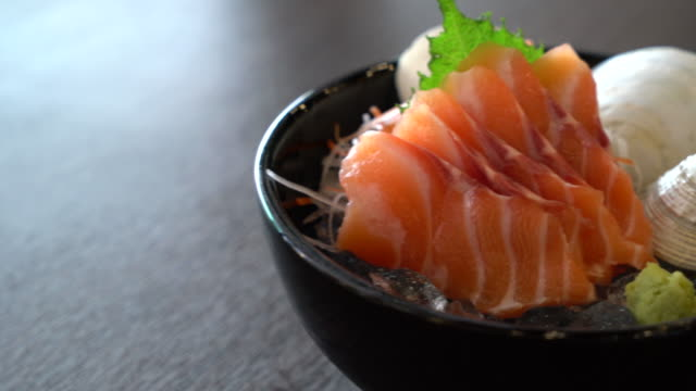 fresh salmon sashimi - japanese food style