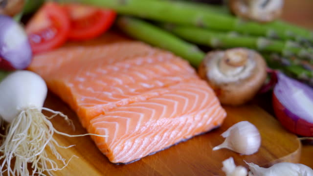 fresh salmon steak for healthy eating - fish stock videos & royalty-free footage