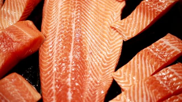 vídeos de stock e filmes b-roll de fresh salmon - salmão peixe