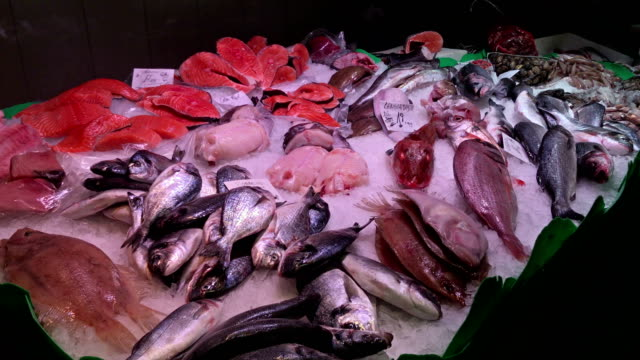 Fresh seafood on ice at La Boqueria market in Barcelona
