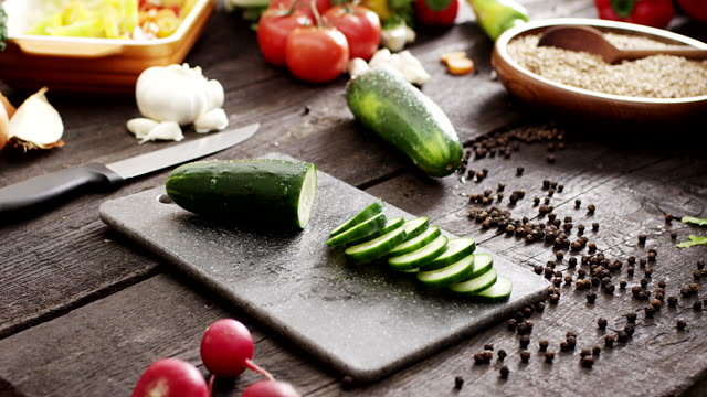 fresh sliced cucumber - pepper pot stock videos & royalty-free footage