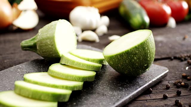 fresh sliced zucchini - gratin stock videos & royalty-free footage