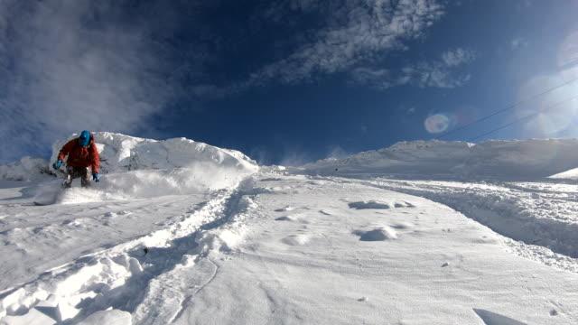 fresh snow - alpine skiing stock videos & royalty-free footage