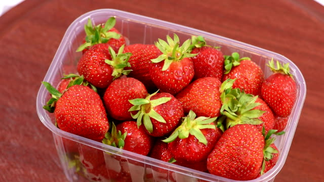 fresh strawberries in plastic box - plastic container stock videos & royalty-free footage