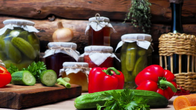 fresh vegetable canning - spread food stock videos and b-roll footage