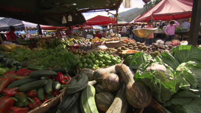 vídeos de stock e filmes b-roll de cu of fresh vegetable for sale at market stall, villa de leyva market, villa de leyva, boyacã¡ department, colombia - colômbia