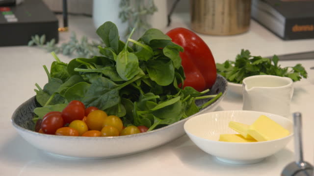 fresh vegetable salad and breakfast ingredients - spinach salad stock videos & royalty-free footage