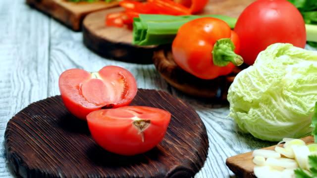 fresh vegetable salad cooking - tomato salad stock videos & royalty-free footage