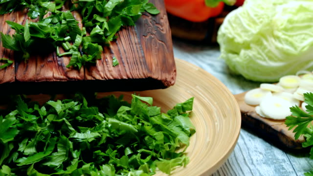 fresh vegetable salad cooking - chopped lettuce stock videos & royalty-free footage