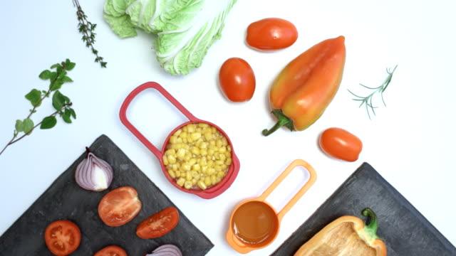 Fresh vegetable salad cooking