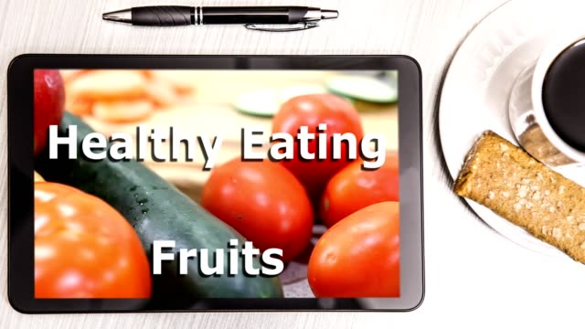fresh vegetables and fruit on digital tablet - protein bar stock videos & royalty-free footage