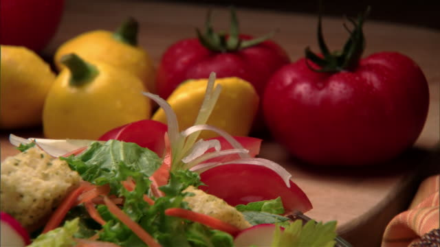 cu, zo, fresh vegetables and salad  - vegetarian food stock videos and b-roll footage