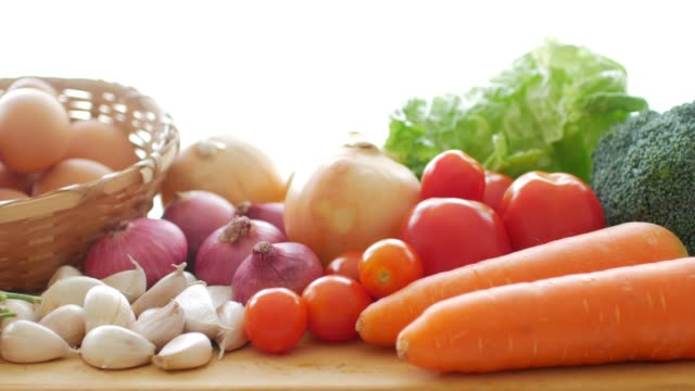 fresh vegetables for healthy food cooking - antioxidant stock videos & royalty-free footage
