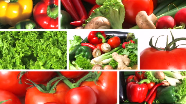 stockvideo's en b-roll-footage met fresh vegetables - montage - table top shot