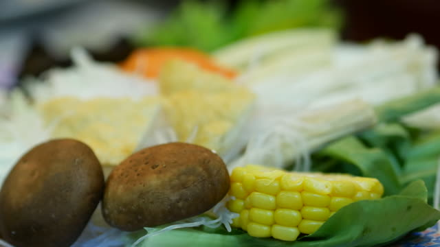 fresh vegetables ready to eat for sukiyaki , shabu-shabu - sukiyaki stock videos and b-roll footage