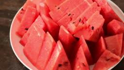 Fresh watermelon in small slices