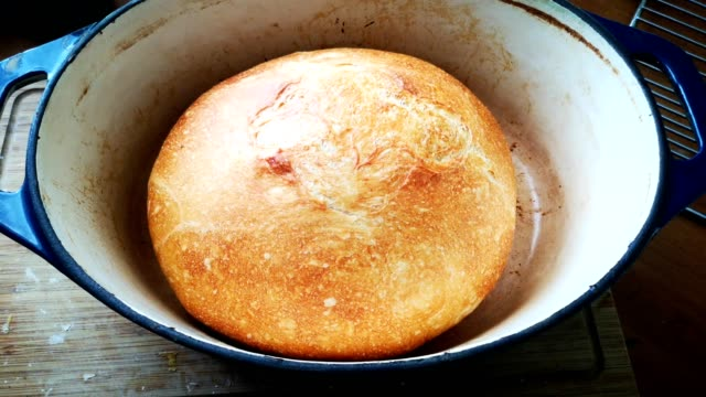 freshly baked bread boule in dutch oven - pane a lievito naturale video stock e b–roll