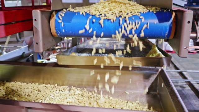 freshly baked savory chips dropping on the fast moving sorting shaker - savory food stock videos & royalty-free footage