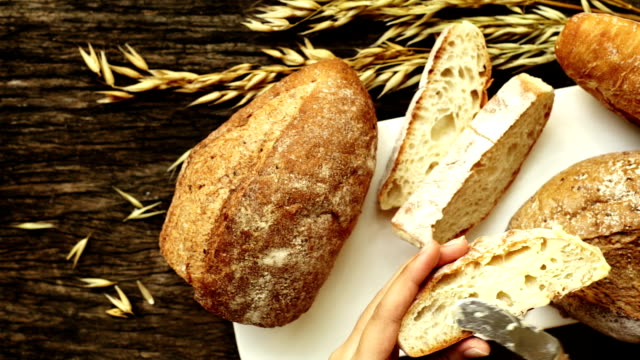 freshly baked traditional bread - loaf of bread stock videos & royalty-free footage