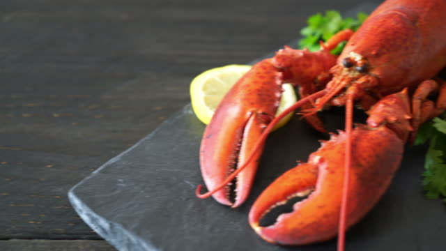 freshly boiled lobster with vegetable