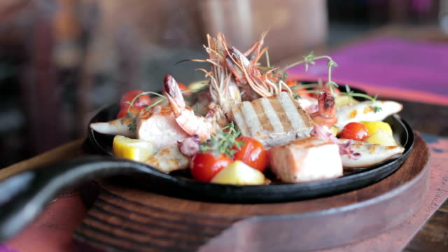 freshly grilled seafood - scampi seafood stock videos and b-roll footage