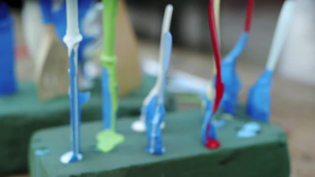 freshly painted spoons - freshly painted stock videos & royalty-free footage