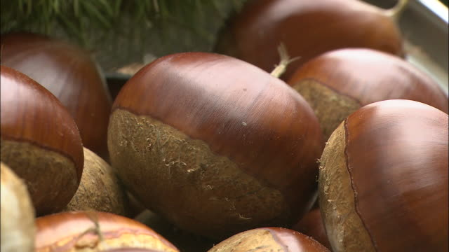 Freshly picked chestnuts fill a bamboo bowl in a chestnut grove in Nose-cho, Osaka, Japan.