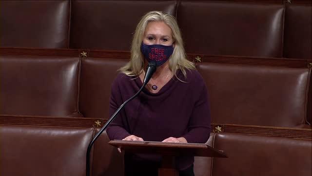 freshman georgia congresswoman marjorie taylor greene begins extended floor speech defending herself in debate on a resolution to remove her from... - msnbc点の映像素材/bロール