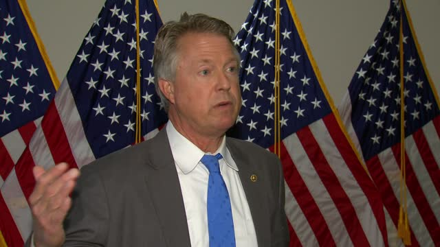 freshman kansas senator roger marshall tells reporters in hallway interview that coronavirus economic relief should be laser targeted but instead... - partisan politics stock videos & royalty-free footage