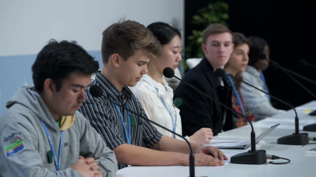fridays for future climate activists, including linus dolder of switzerland, jinhyun park of south korea, toby thorpe of tasmania, australia, and lea... - campaigner stock videos & royalty-free footage
