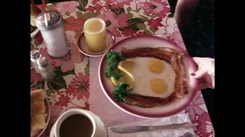 fried breakfast being served in a hotel; 1980 - kall dryck bildbanksvideor och videomaterial från bakom kulisserna