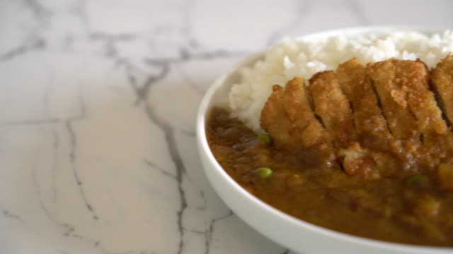 fried cutlet pork with curry on rice