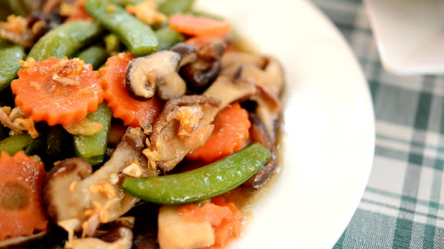fried mushrooms non-toxic with vegetables organic - shiitake stock videos & royalty-free footage