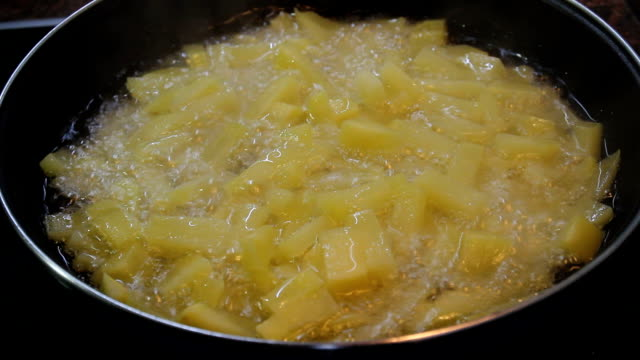 Fried potatoes into the pan