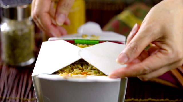 fried rice - take away food stock videos and b-roll footage