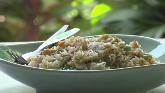 fried rice with chicken, typical thai food - fried rice stock videos and b-roll footage