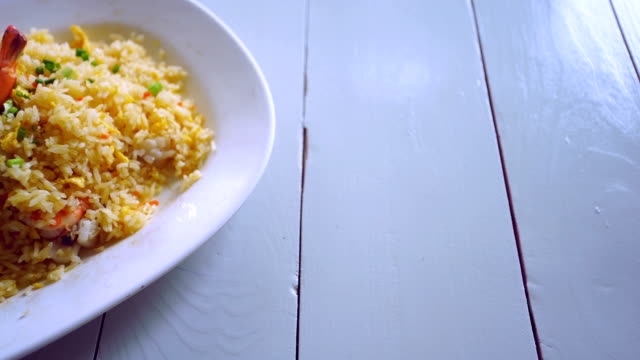 fried rice with fresh big prawn - fried rice stock videos and b-roll footage