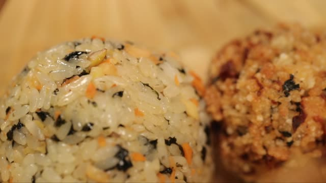 fried rice with nurungji(crust of overcooked rice) in the bowl - rice ball stock videos & royalty-free footage