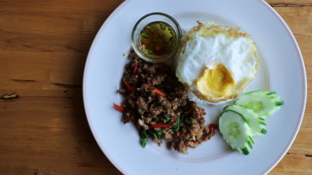 fried rice with pork - fried rice stock videos and b-roll footage