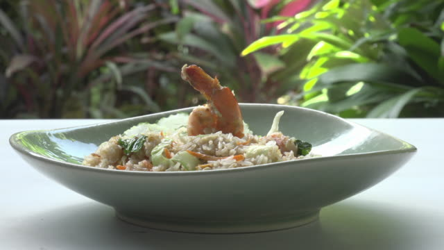 fried rice with shrimp - fried rice stock videos and b-roll footage