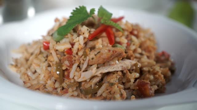 fried rice with tuna - tuna seafood stock videos & royalty-free footage