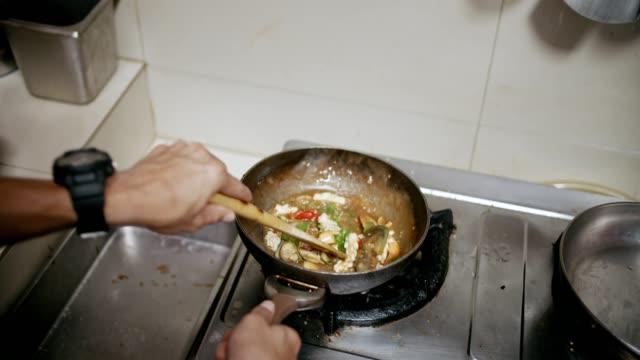 fried seafood basil, thai food - crumb stock videos & royalty-free footage