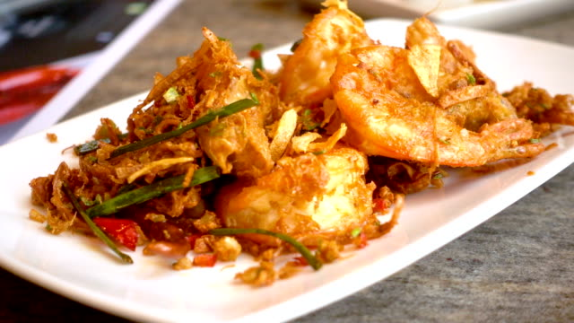 fried shrimp with chili - scampi seafood stock videos and b-roll footage