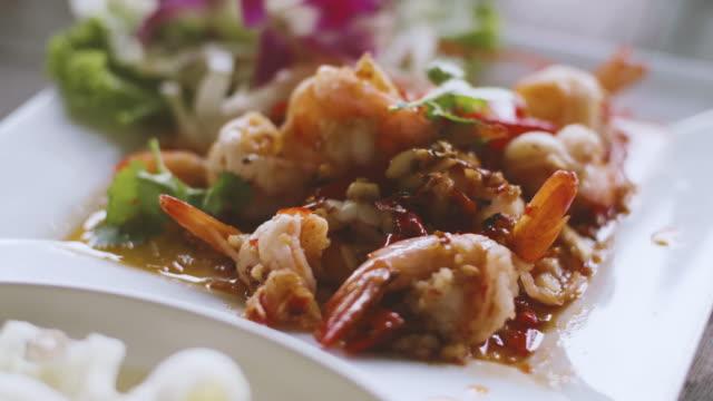 Fried Shrimp With Garlic, Traditional Thai Food