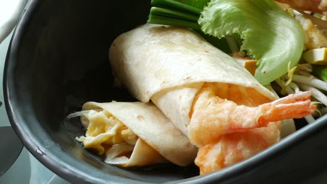 fried shrimp with white pasta sheet , salmon steak - salmon steak stock videos & royalty-free footage
