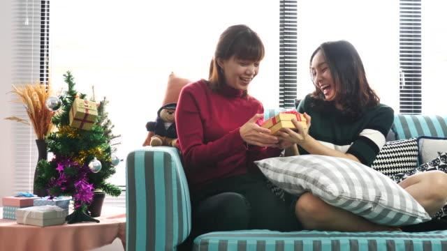 友人のクリスマス プレゼント - 渡す点の映像素材/bロール